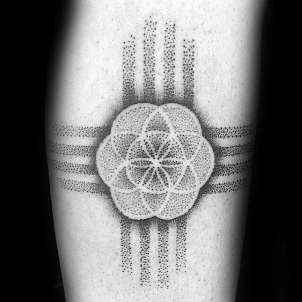 Zia Male Tattoos Dotwork Geometric Flower Of Life Design On Frearm