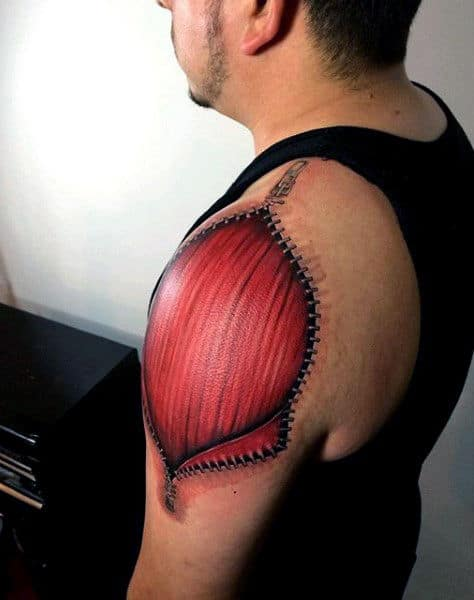 Zipper Muscle Upper Arm Tattoos For Men