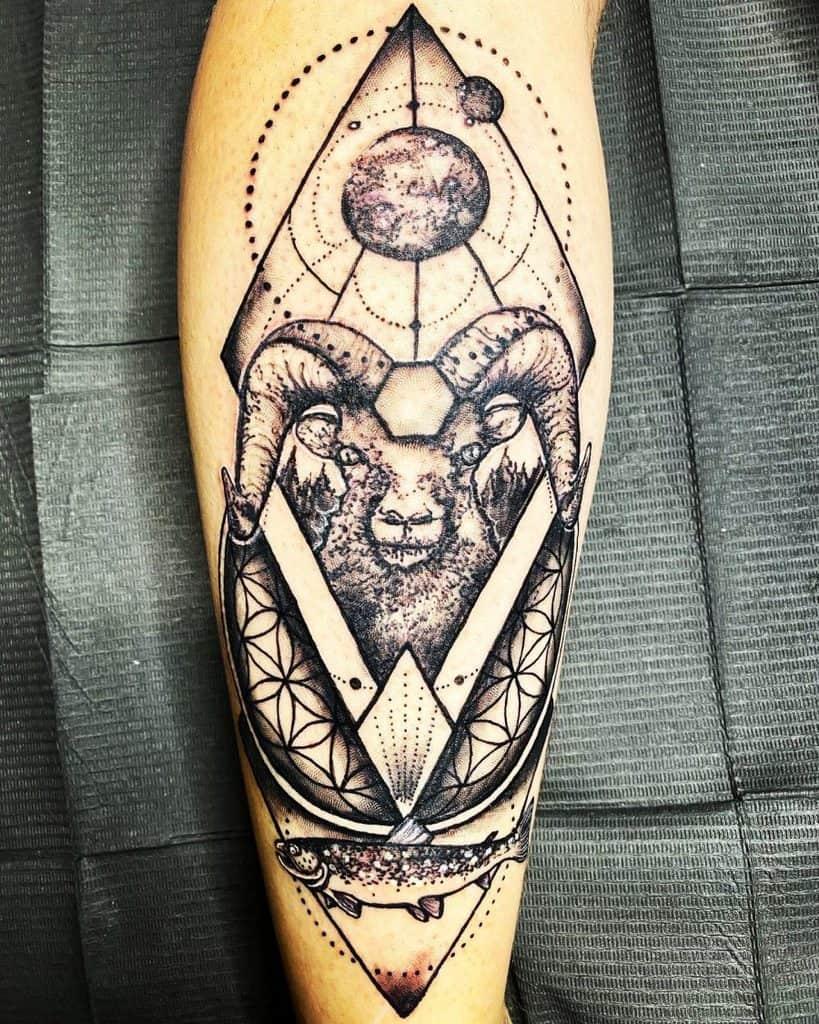 Zodiac Ram Bold Black Ink Framed Shapes Lunar Geographic Tattoo