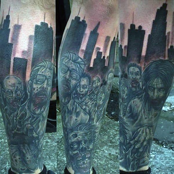 Zombie Apocalypse City Skyline Leg Sleeve Guys Tattoos