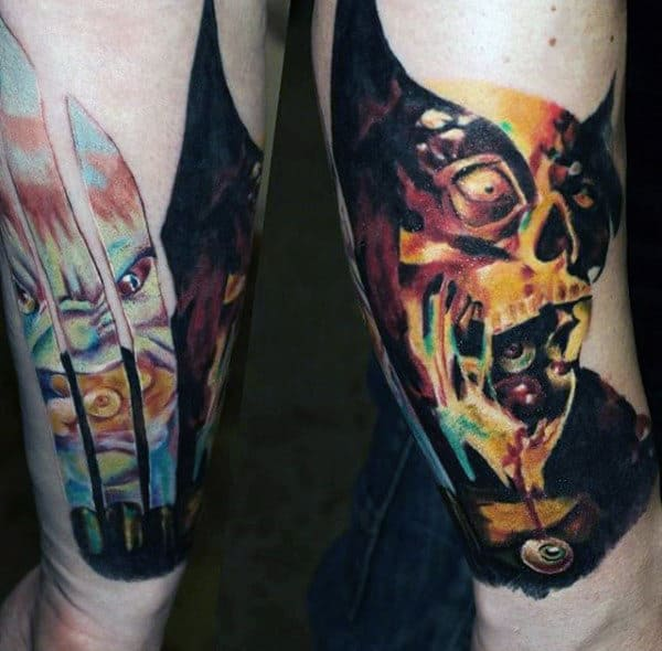 Zombie Biting Watercolor Mens Forearm Tattoos