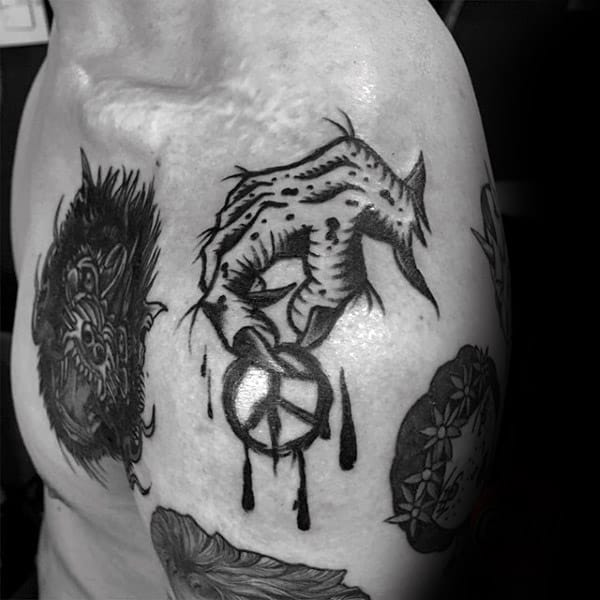 Zombie Hand Holding Peace Sign Mens Shoulder Tattoos