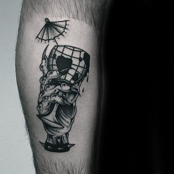 Zombie Hand With Globe Cup Mens Leg Tattoos