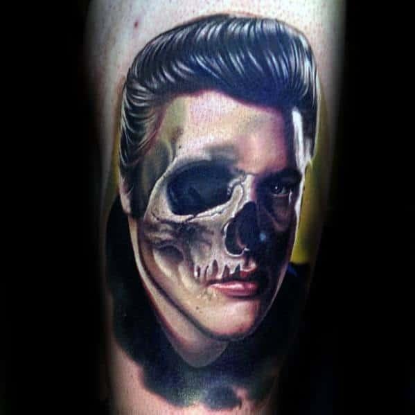 Zombie Skull Themed Elvis Presley Guys Tattoo Designs