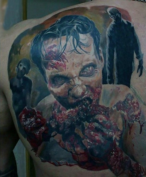 Zombies Walking And Eating Brains Mens Back Of Shoulder Tattoo