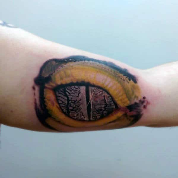 Zoomed In Lizard Eye Tattoo On Guys Forearms